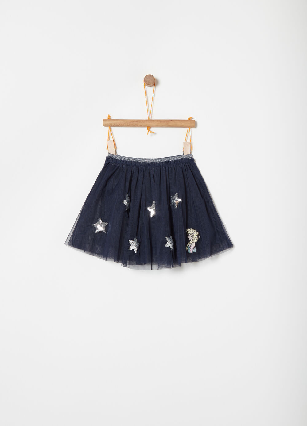 Tulle skirt with lurex and Frozen embroidery
