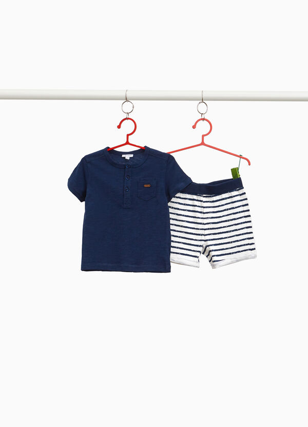 Striped cotton T-shirt and Bermuda shorts outfit