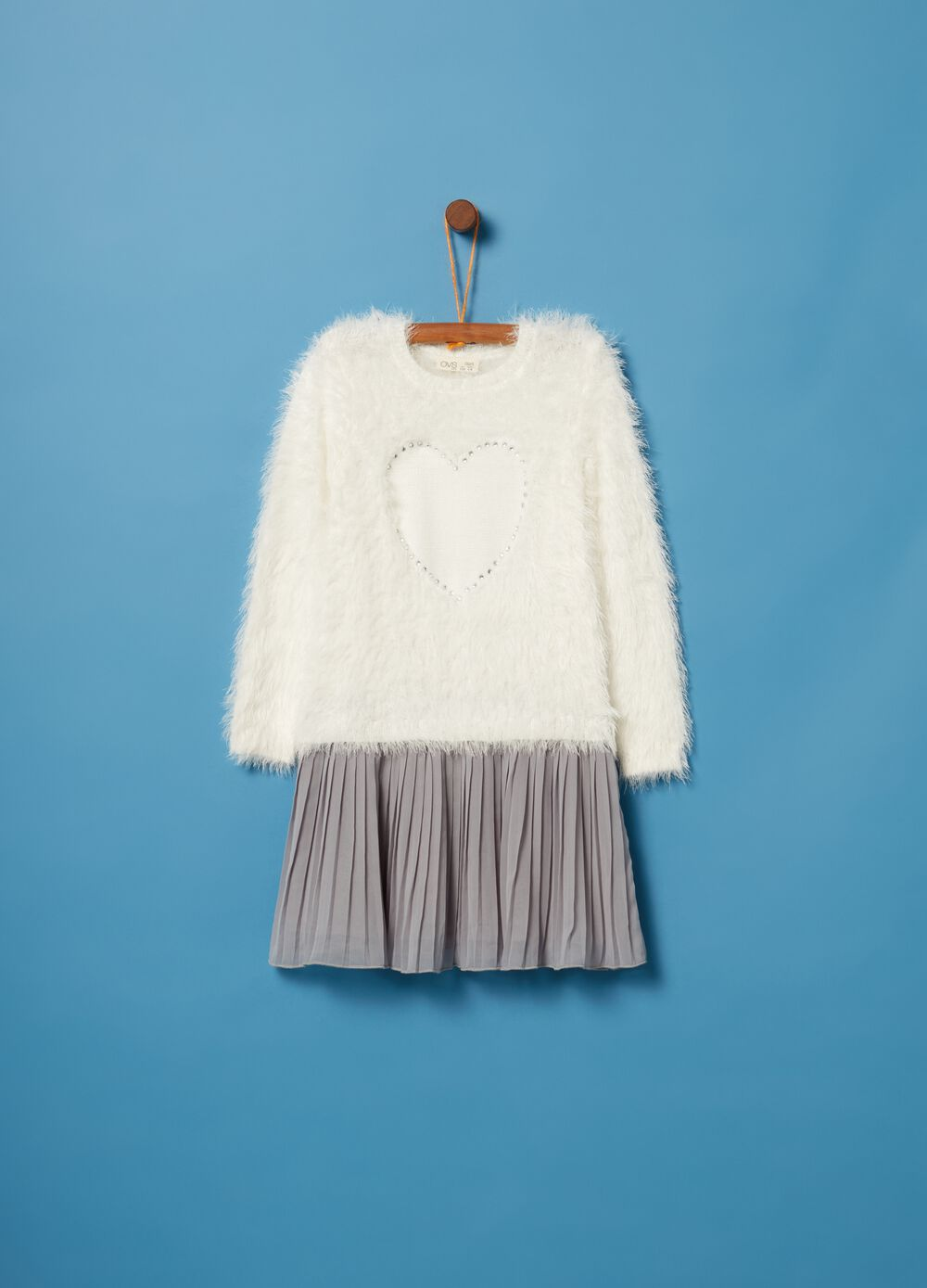 Dress with fur top and pleated skirt