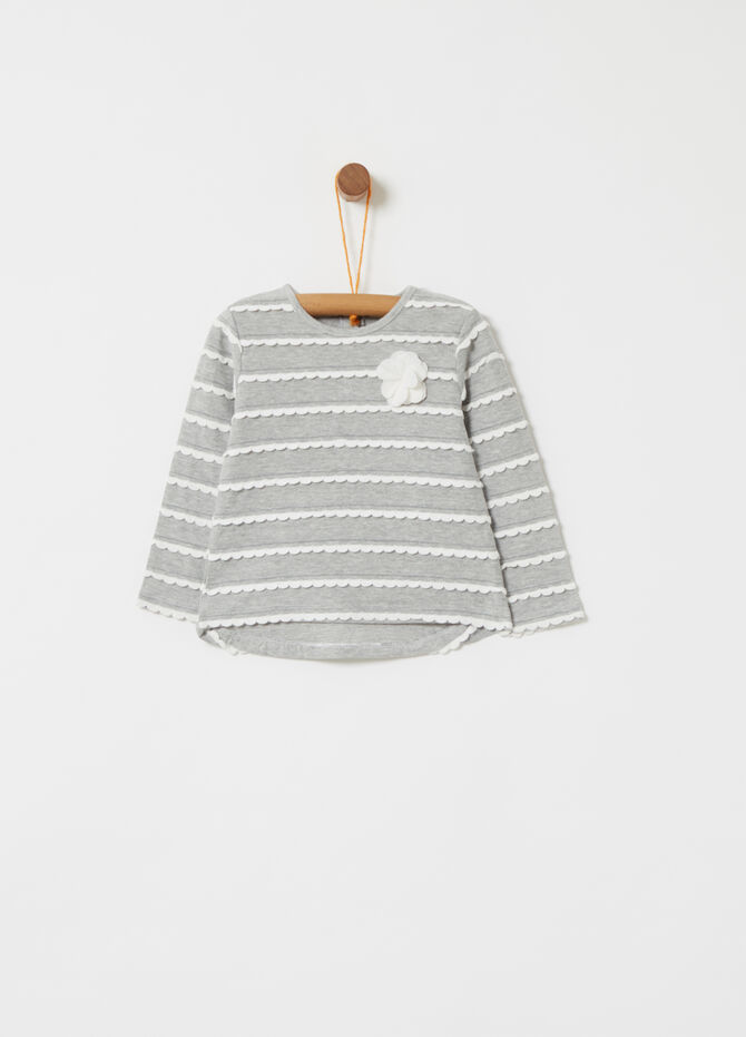 T-shirt with lurex yarn and wavy flounce applications