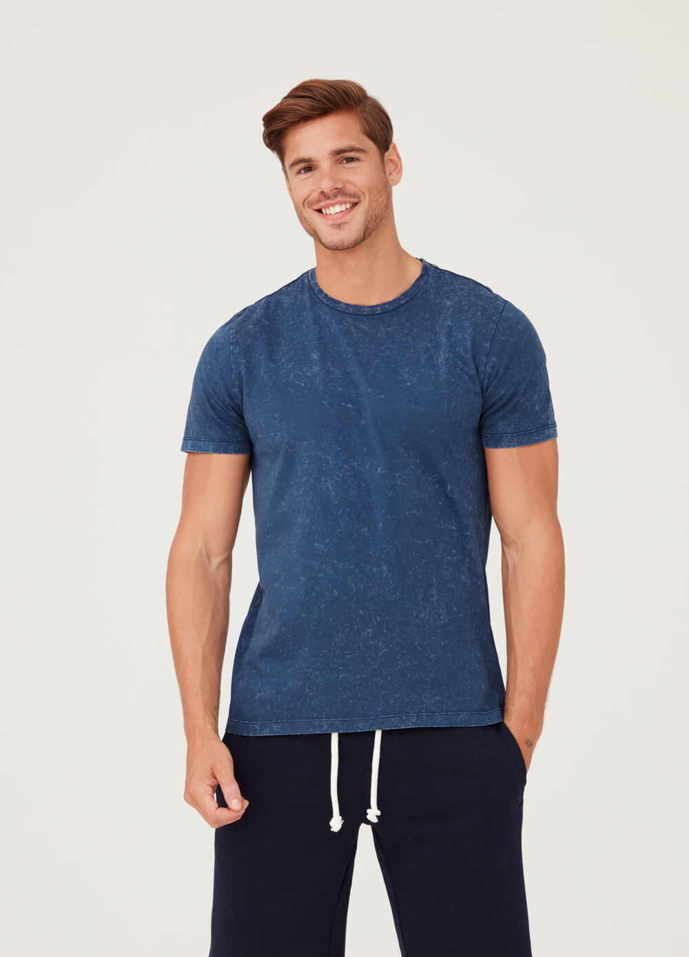 Vintage-effect T-shirt with round neck