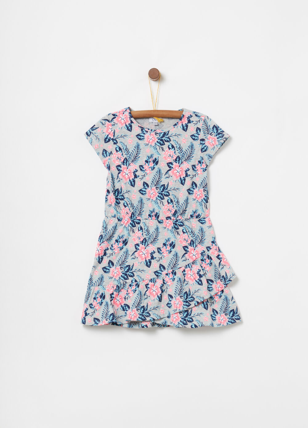 Cotton dress with frills and floral pattern