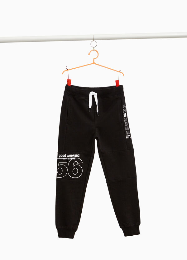 Cotton joggers with printed lettering