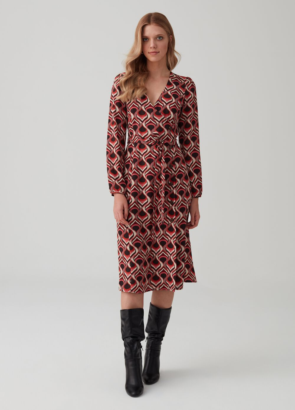 Midi dress with patterned crossover