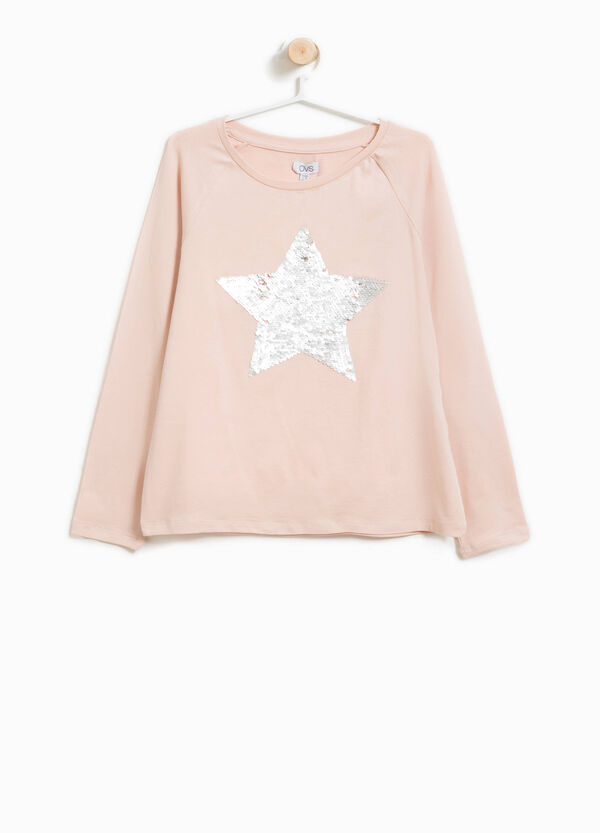 Stretch cotton T-shirt with star sequins | OVS