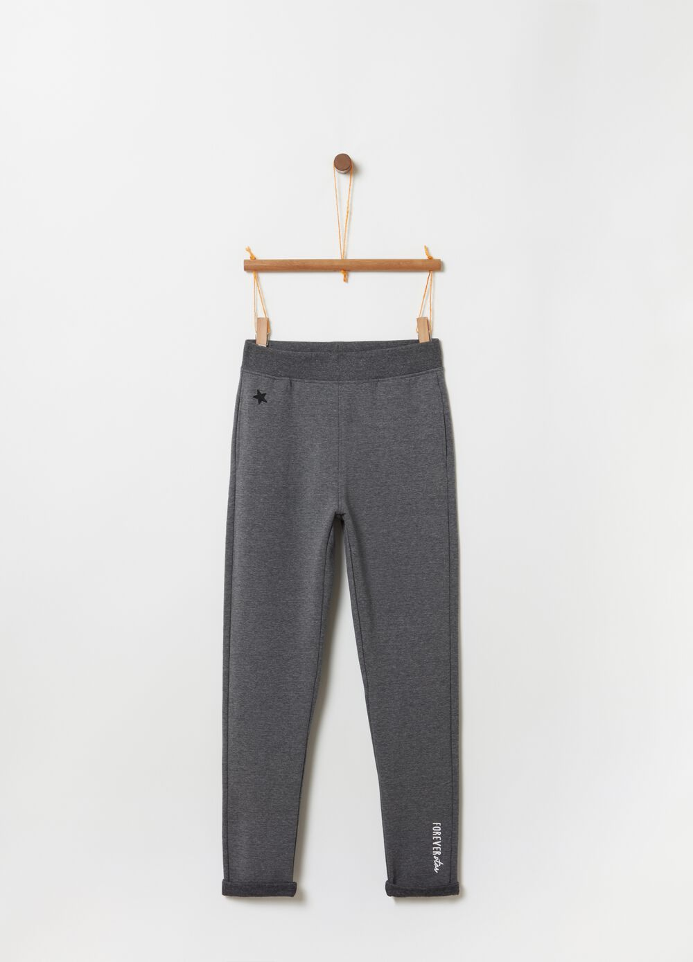 Joggers with lettering and star print