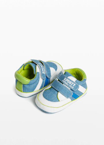 Canvas sneakers with inserts and print
