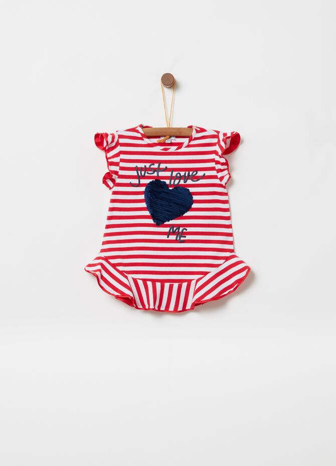 T-shirt with rouches and pailletes striped pattern