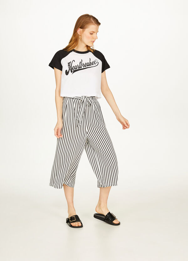 Striped gaucho trousers