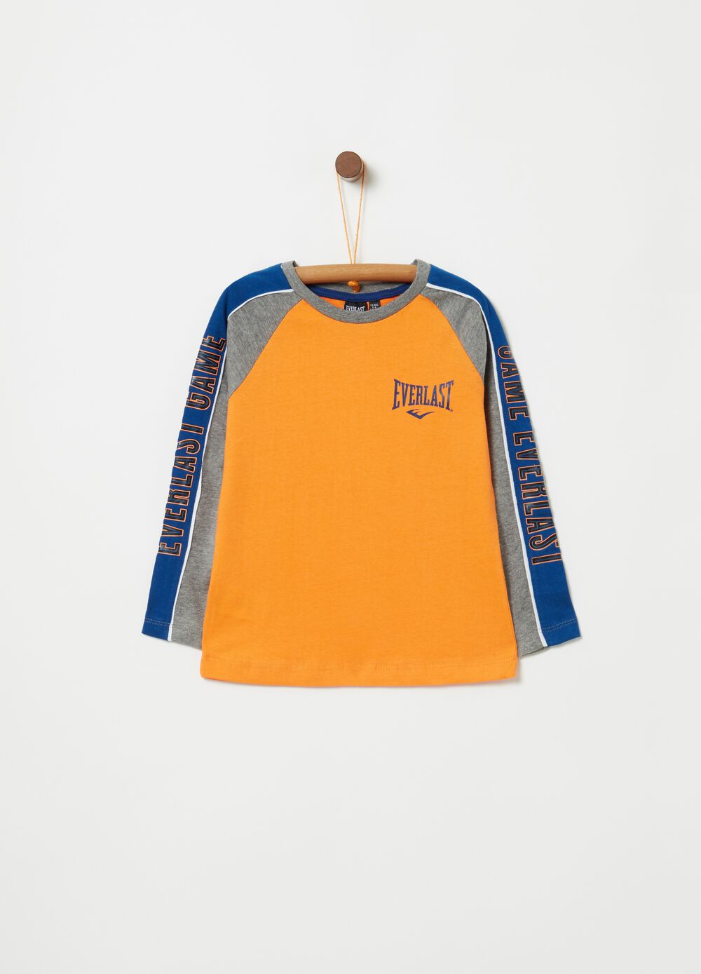 Two-tone crew neck T-shirt with Everlast print