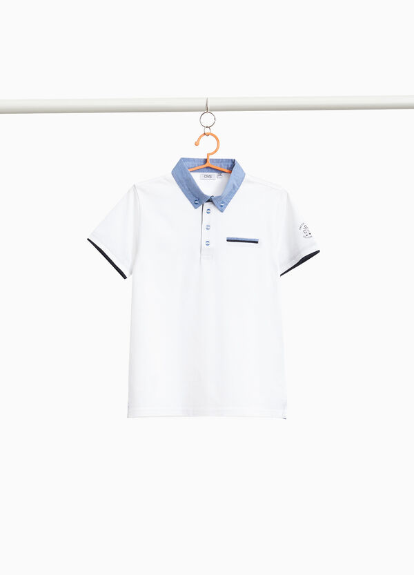 Stretch cotton polo shirt with print