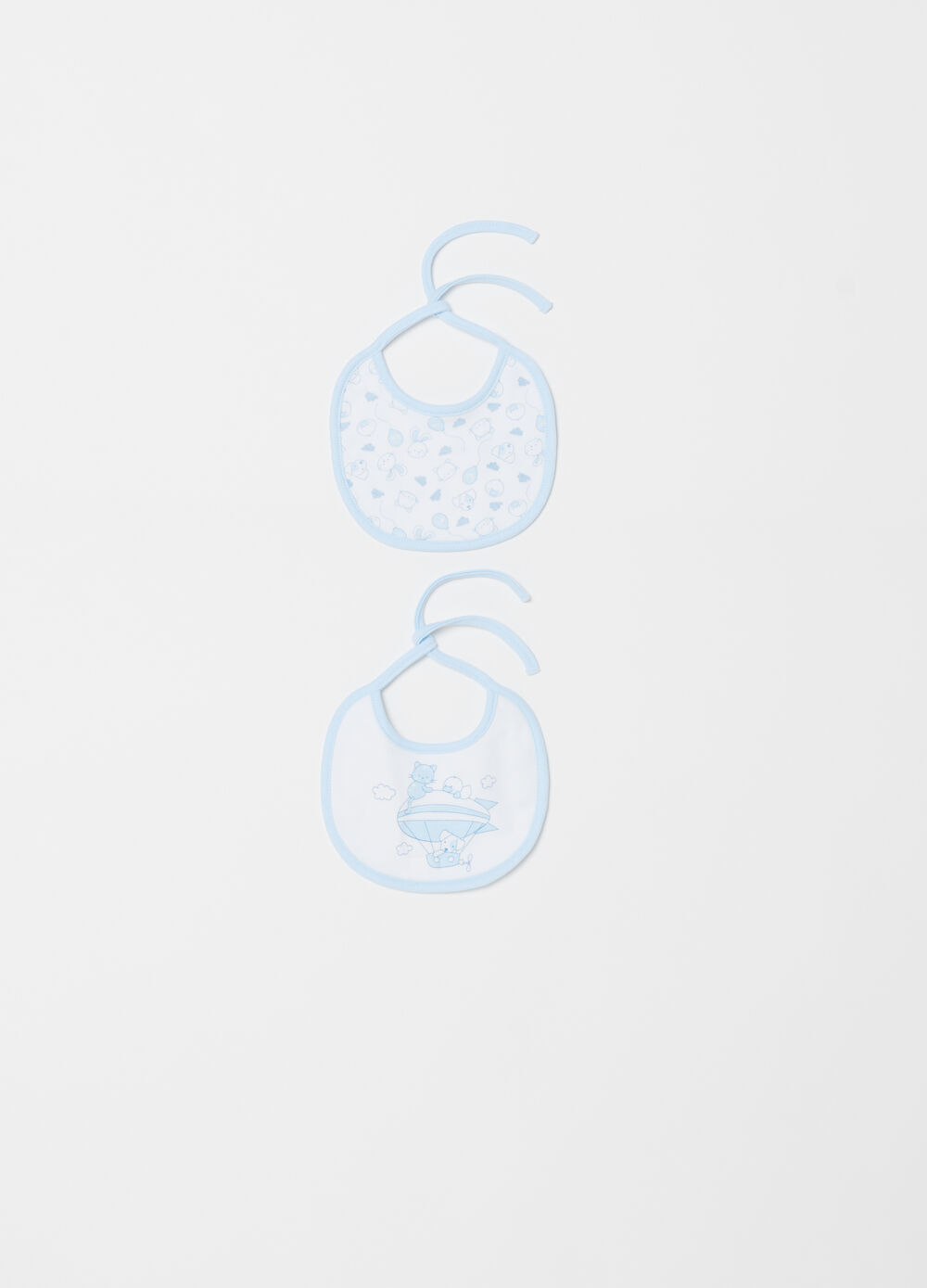 Two-pack small bibs with print and pattern