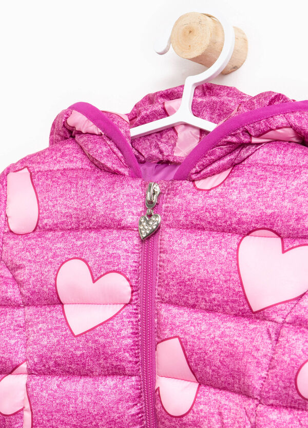 Jacket with hood and hearts print | OVS