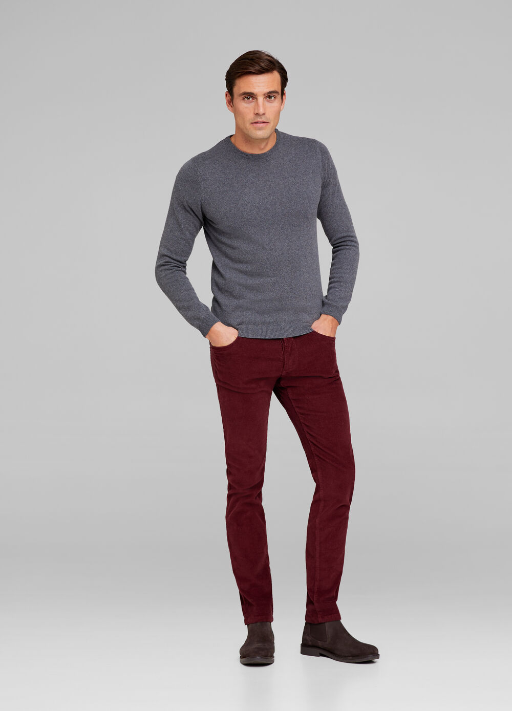 Solid colour silk and cashmere pullover