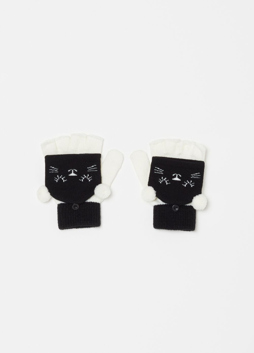 Fingerless gloves with kitten embroidery and pompoms