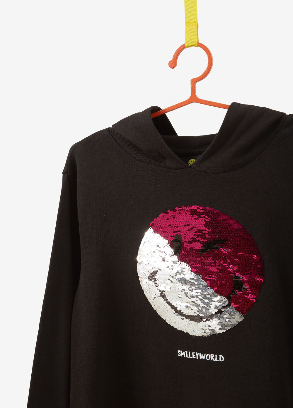 Sweatshirt in 100% cotton with smiley sequins