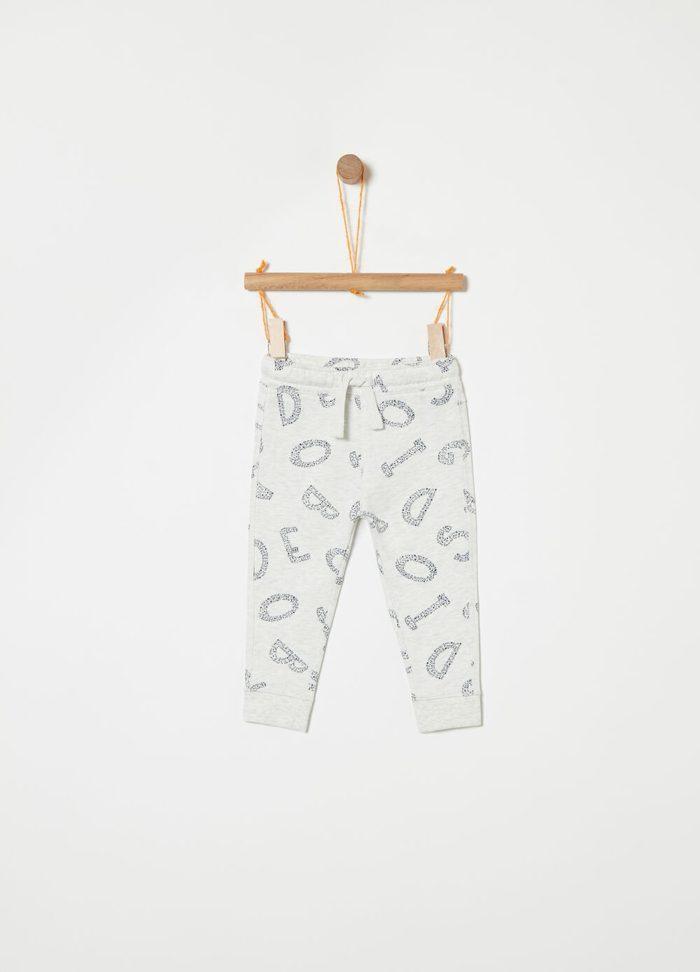 Cotton and viscose trousers with letters pattern