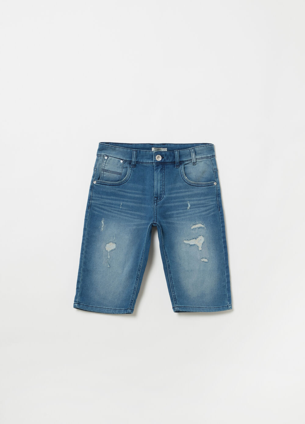 Bleached denim Bermuda shorts with rips