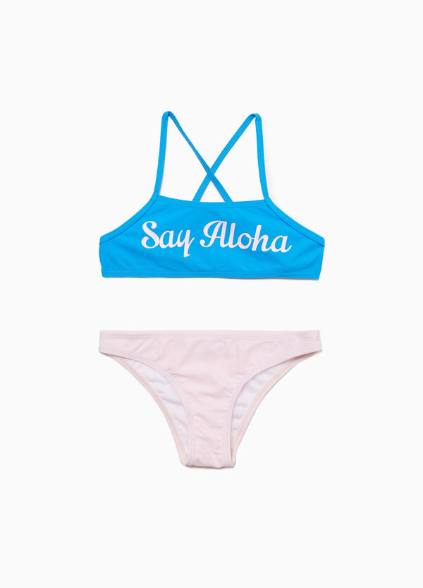 Stretch bikini with lettering print