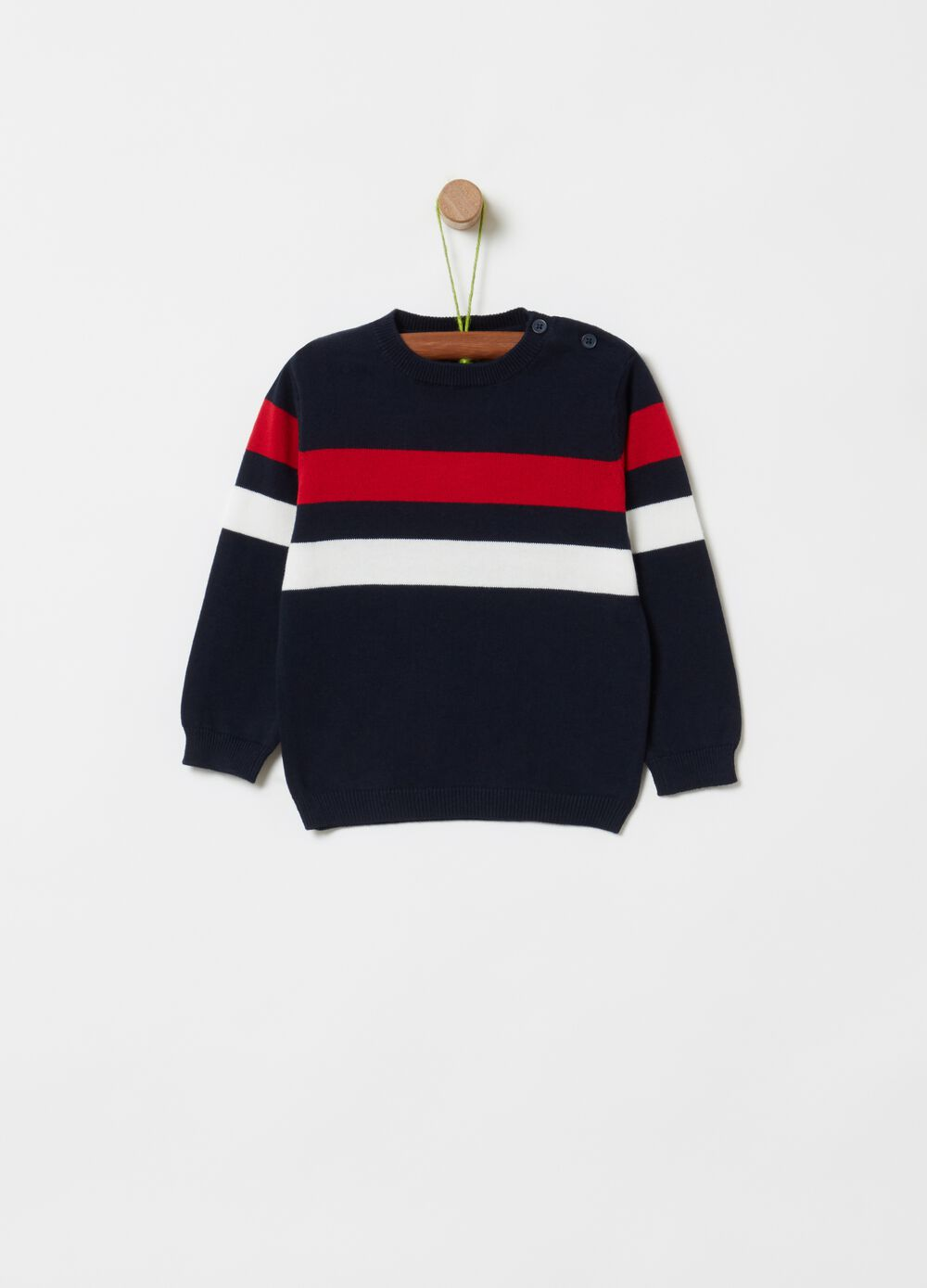 Knitted pullover with striped print