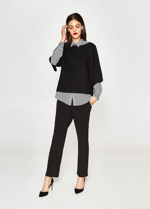 Pullover crop in lana e viscosa