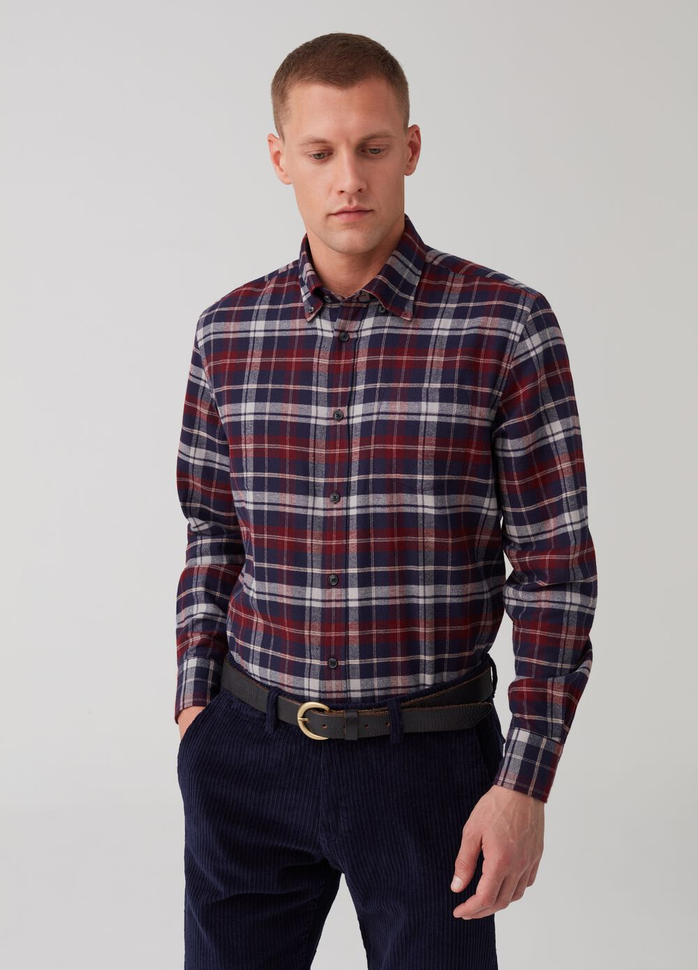Regular-fit button-down check shirt