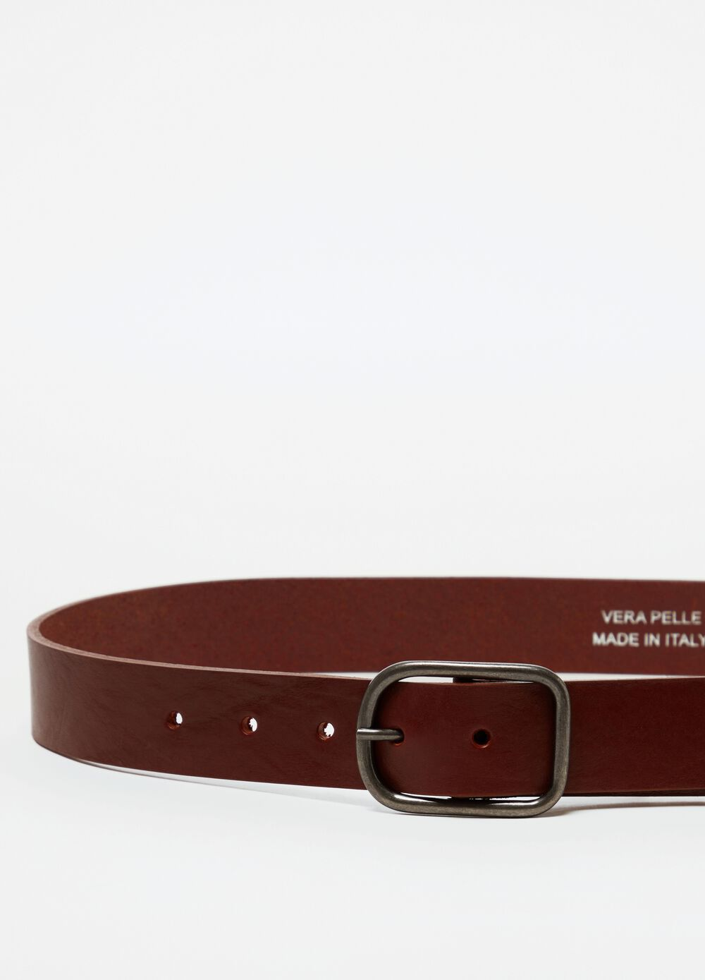 Real leather belt with rounded buckle