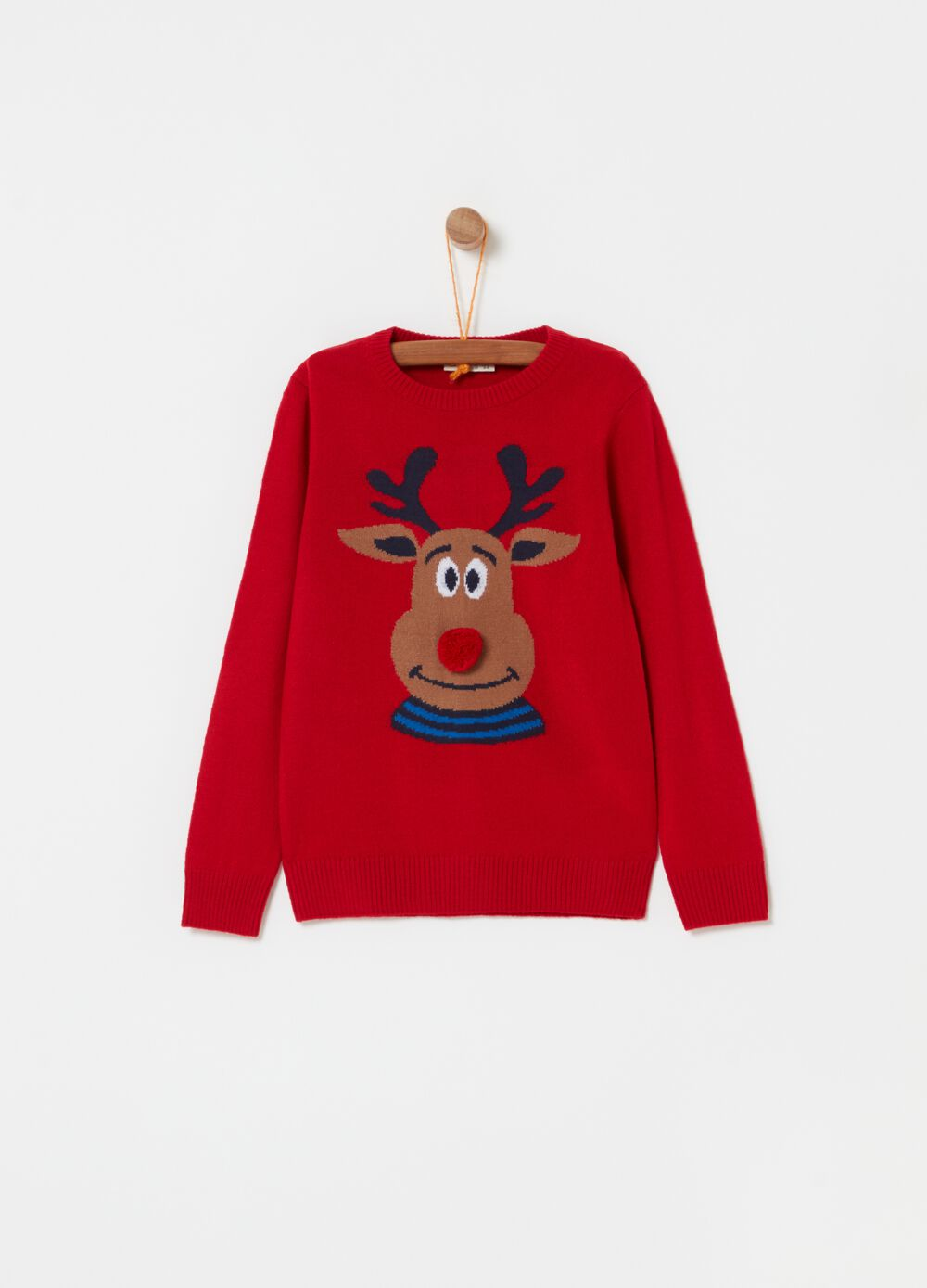 Knitted crew-neck top with reindeer design