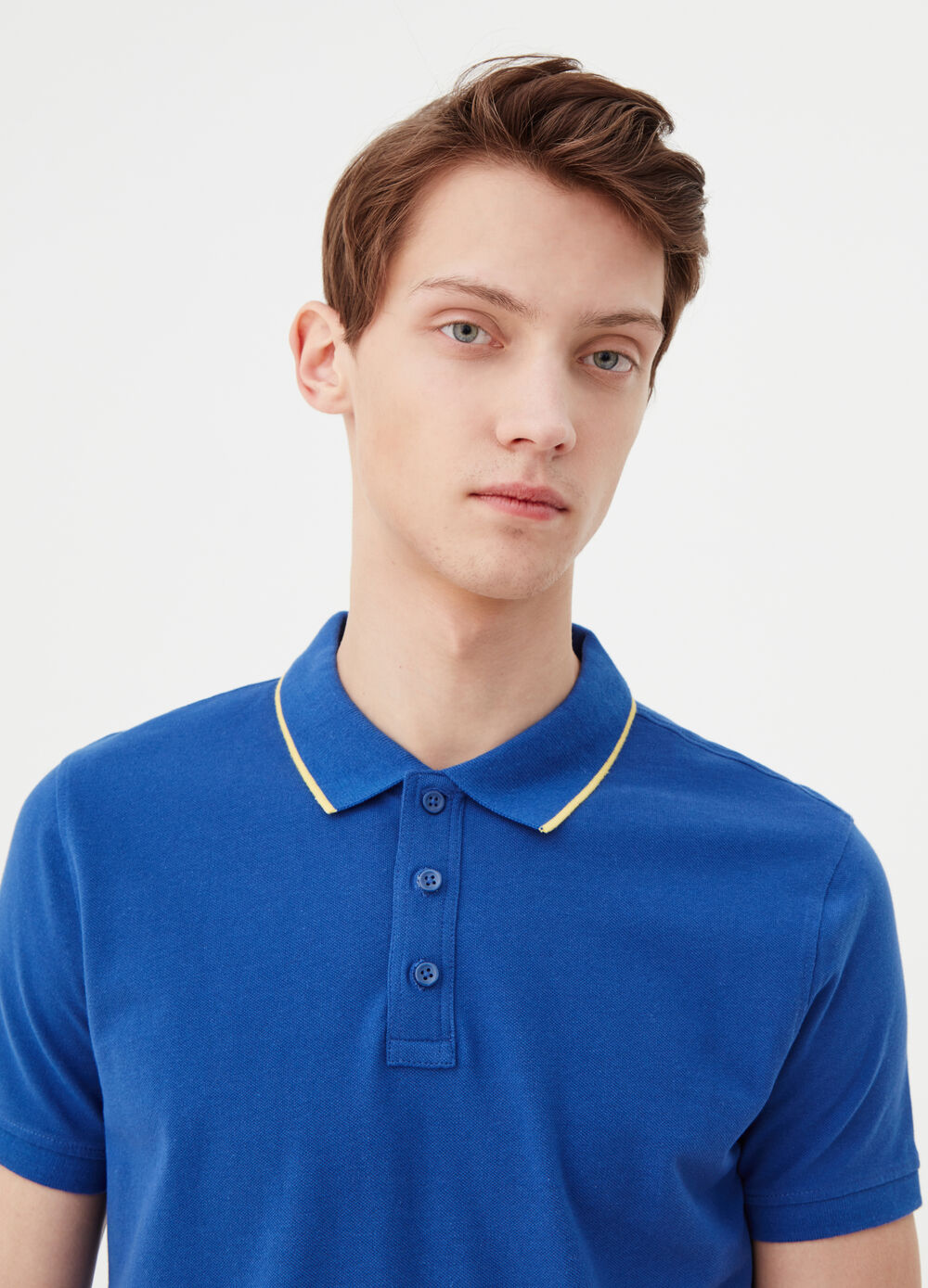 Two-pack polo shirt in cotton piquet with ribbing