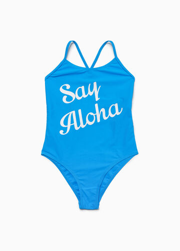 One-piece stretch swimsuit with lettering