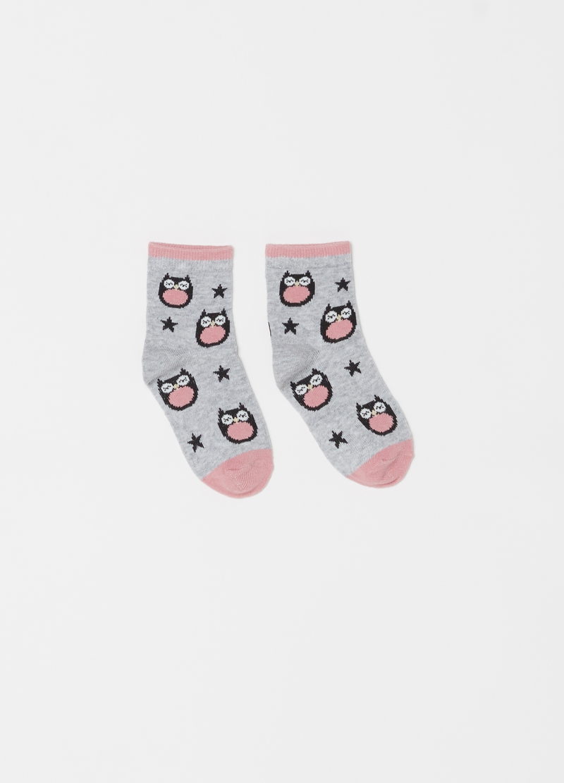 Two-pair pack short socks with owl pattern image number null