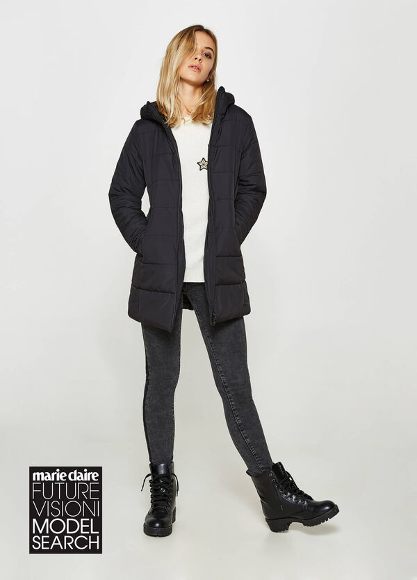 Long down jacket with hood | OVS