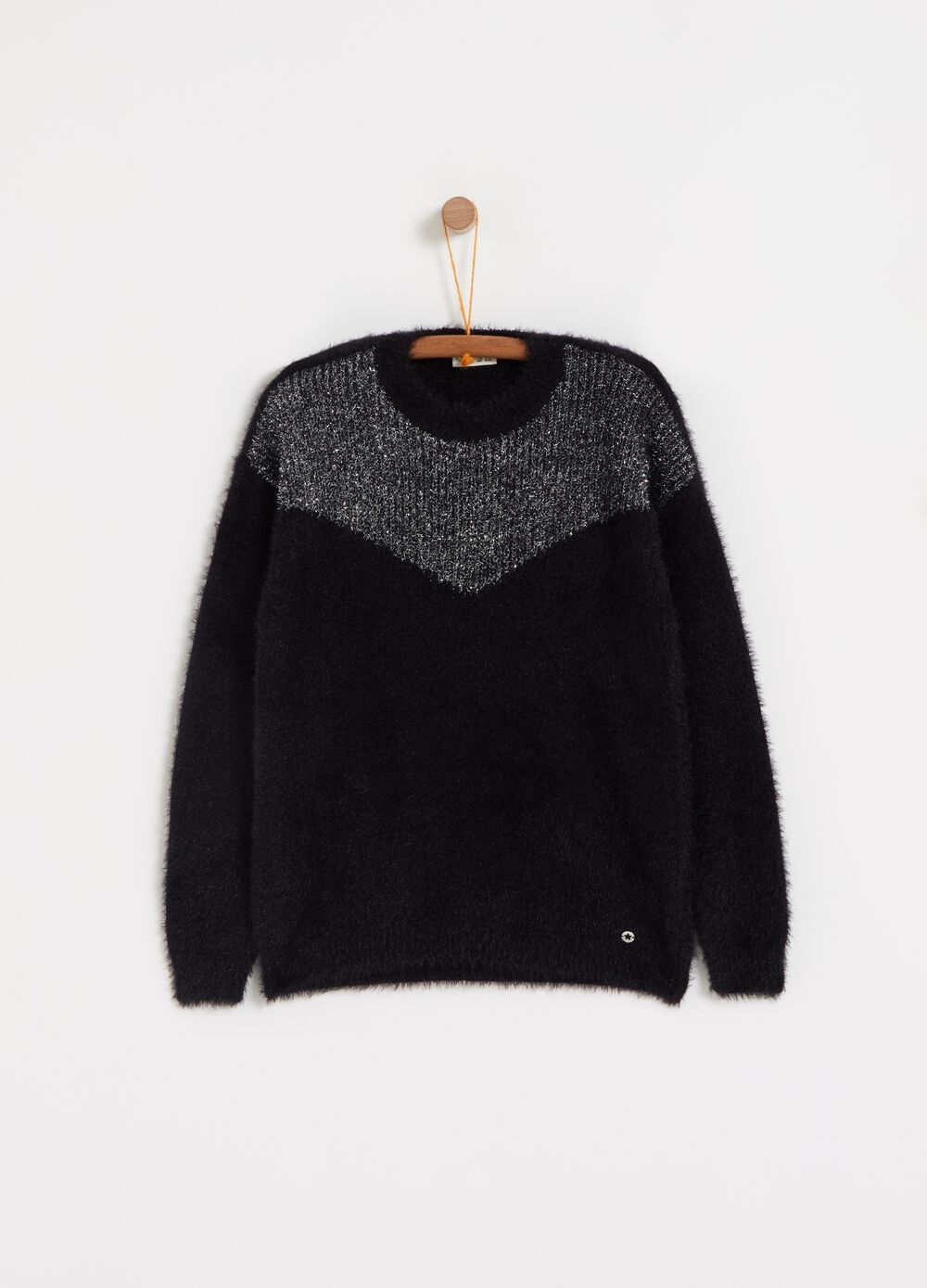 Knitted pullover with two-tone lurex
