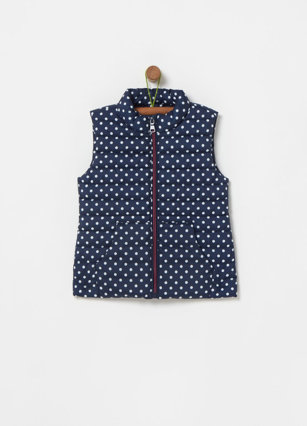 Padded and quilted gilet with polka dots