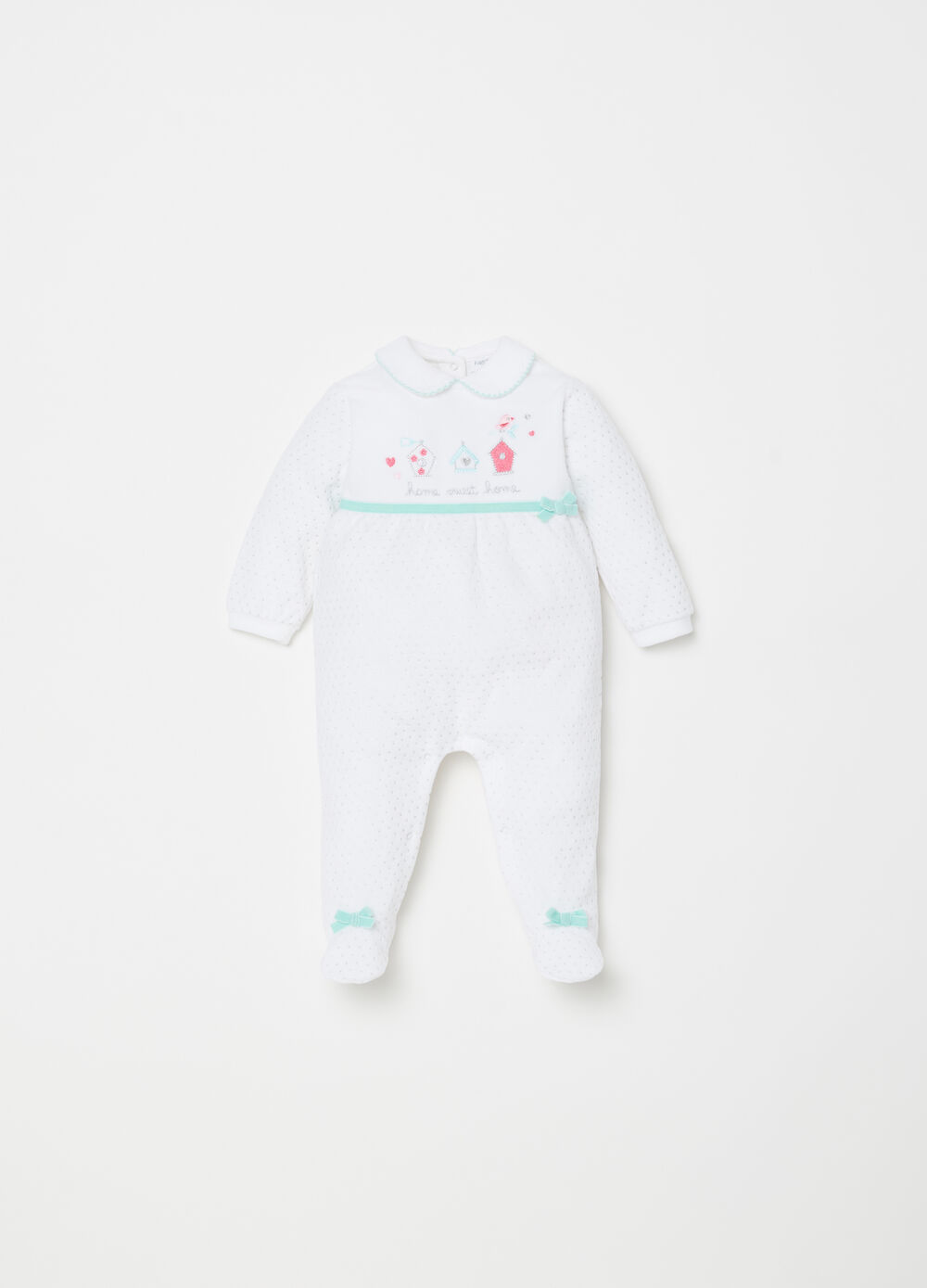 Onesie with feet, polka dot glitter and bow