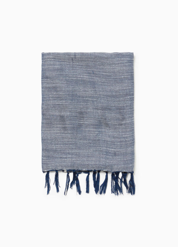 Two-tone viscose scarf with tassels