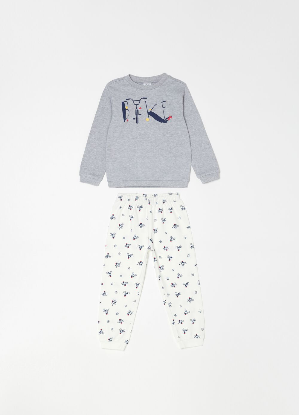Pyjamas with top and trousers with bikers pattern