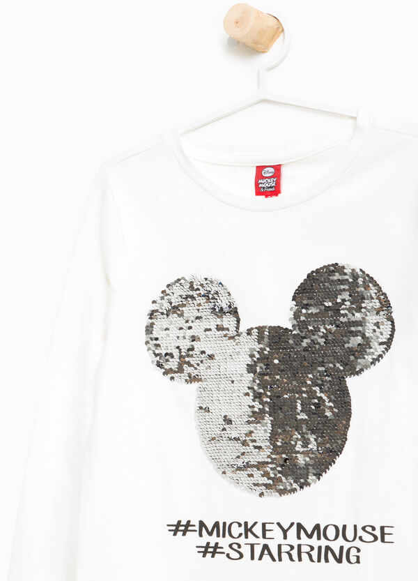 Cotton Mickey Mouse T-shirt with sequins