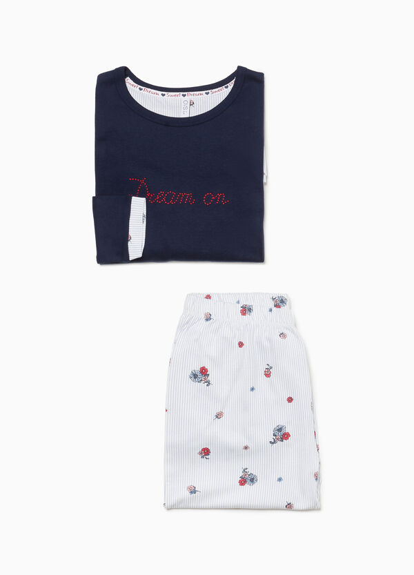 Cotton pyjamas with lettering embroidery