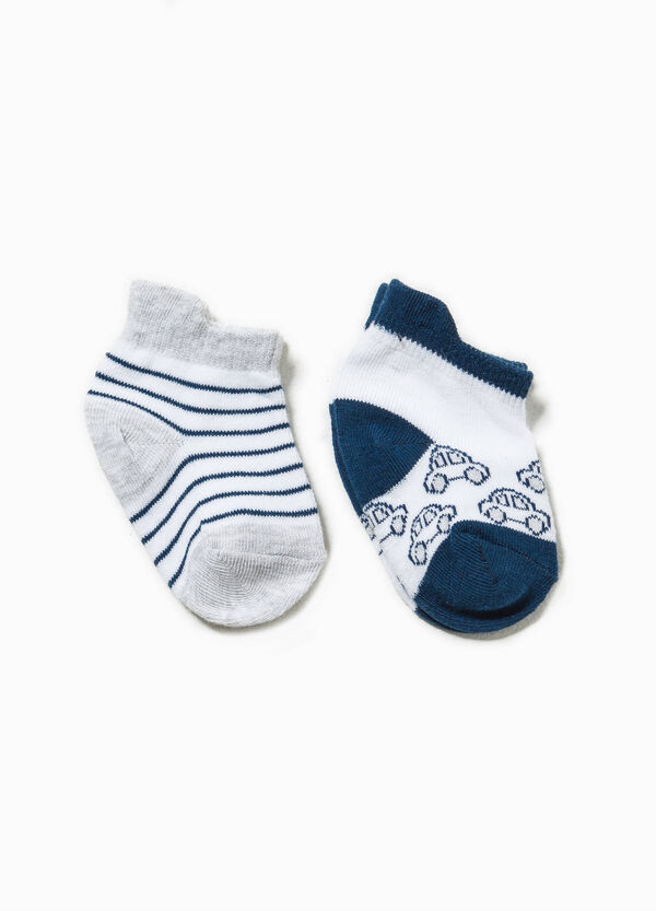 Two-pair pack striped and embroidered socks
