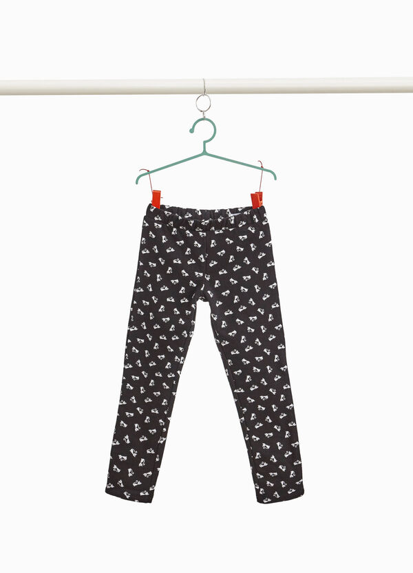 Stretch trousers with kitten pattern