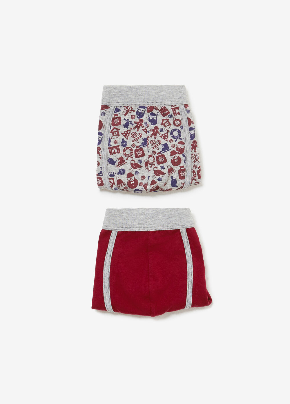 Two-pack stretch cotton boxer shorts with Christmas pattern