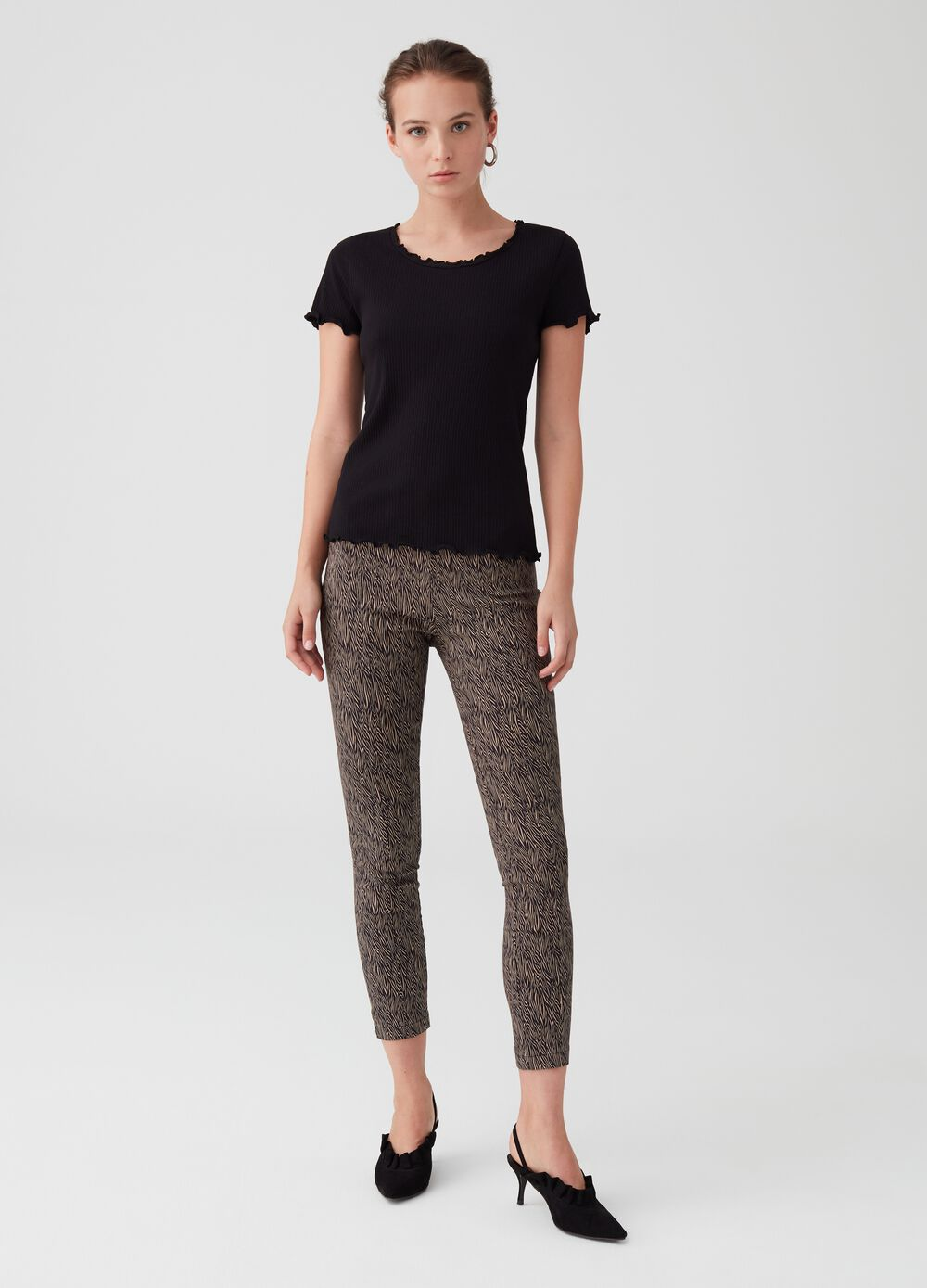 Stretch cropped trousers with splits