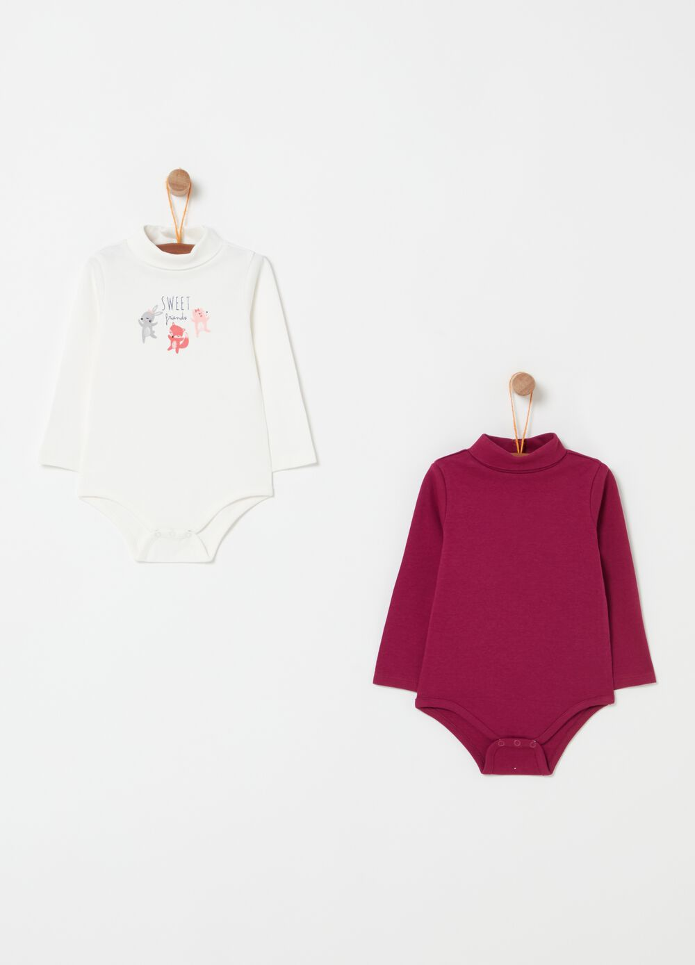 Two-pack long-sleeved bodysuits with print
