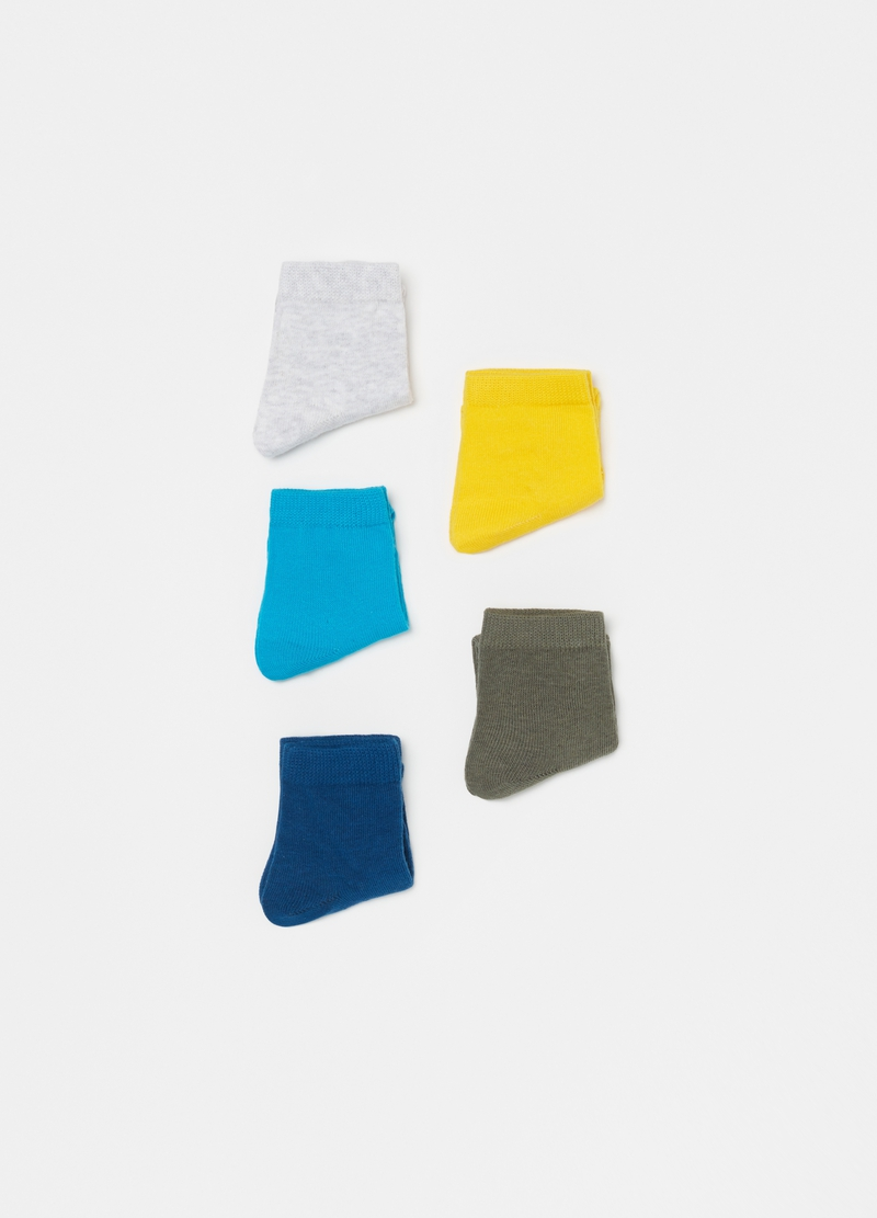 Set of five short socks in stretch cotton image number null