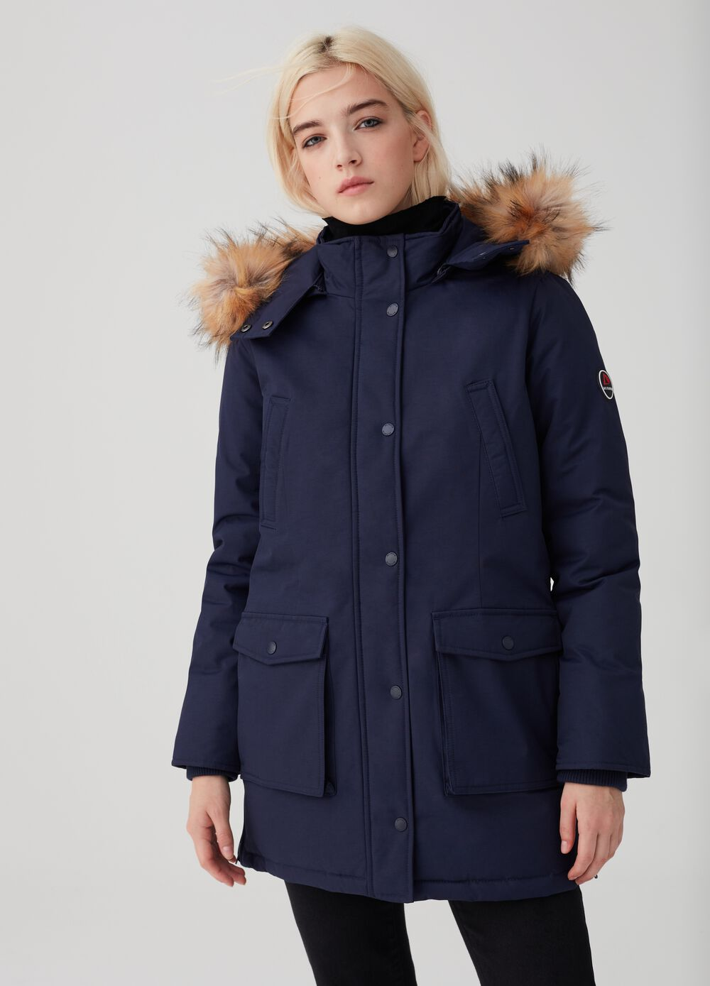 Altavia parka with faux fur trim insert
