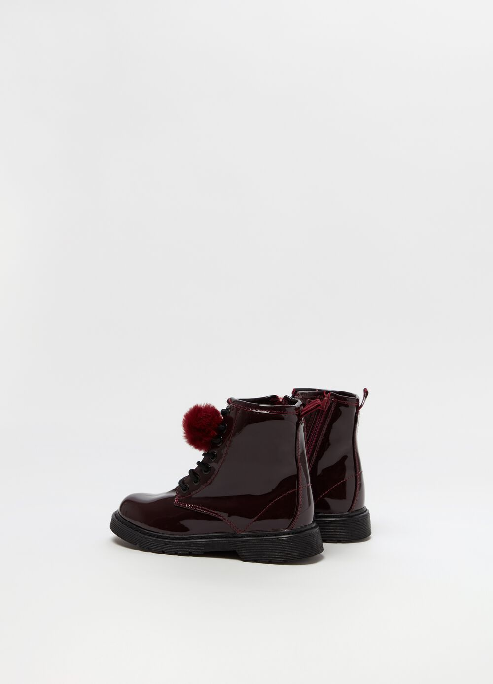 Patent-effect high-top boots