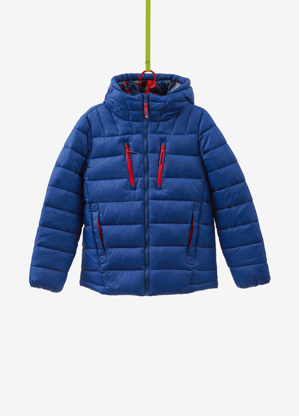Solid colour jacket with hood and pockets
