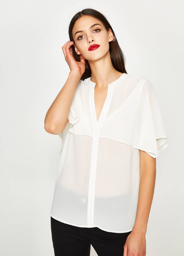 Blouse with V neck and insert | OVS
