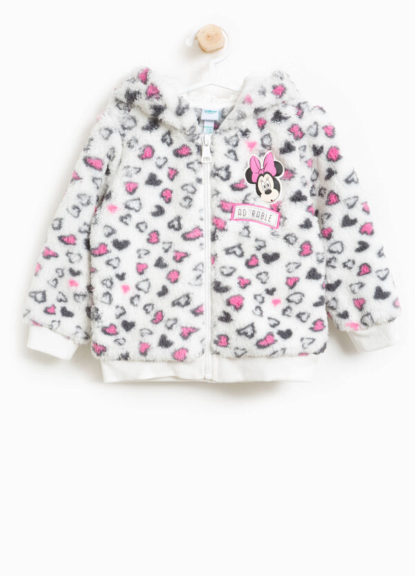 Faux fur sweatshirt with Minnie Mouse and hearts | OVS